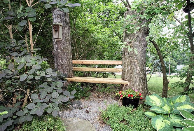 This simple idea for a bench is just perfect for in your garden.