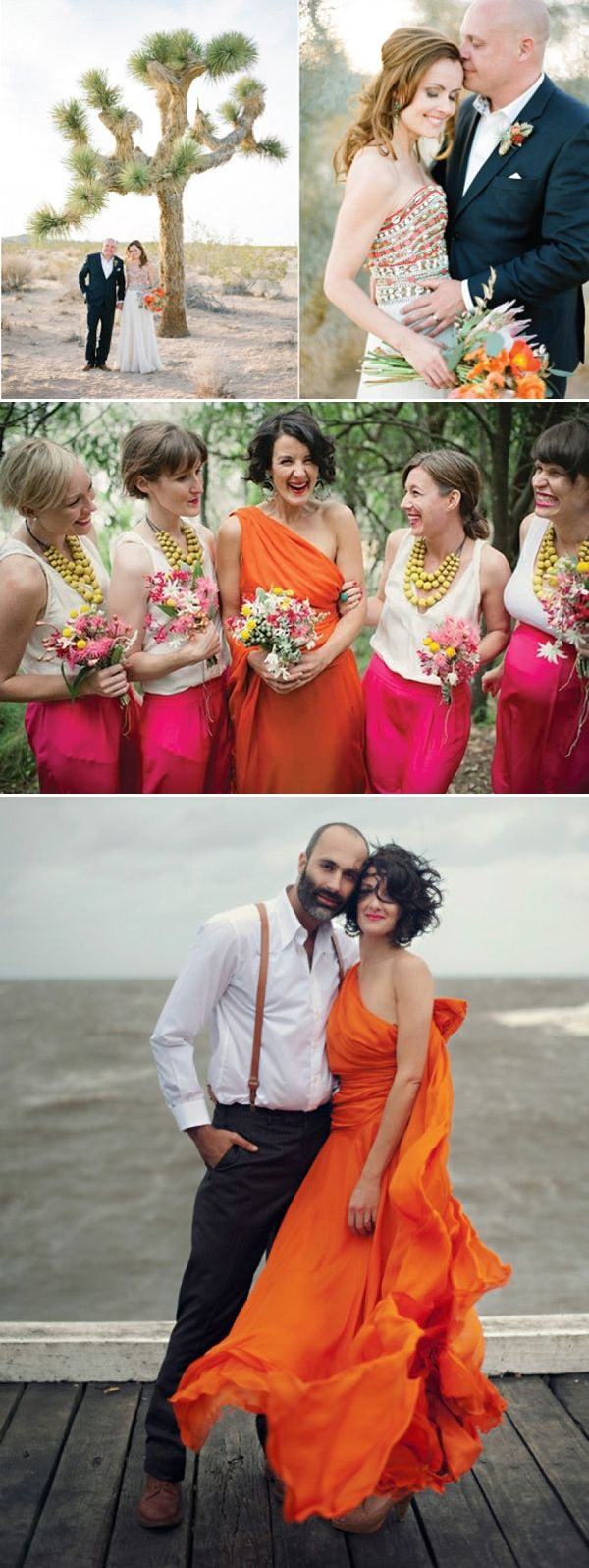 Coloured Wedding Dresses ~ Inspiration For the Bride Who Doesn't Want To Wear White - Accents for the Orange dress shown on your Maidens