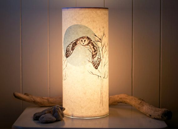Flying Owl Illustrated Handmade Paper Lamp by ANorthernLightLamps, £50.00