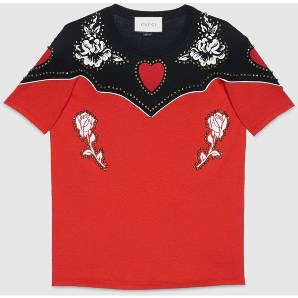 Gucci Flower Print Cotton T-Shirt ($990) ❤ liked on Polyvore featuring tops, t-shirts, flower t shirt, print t shirts, heart tee, cotton tee and floral tops
