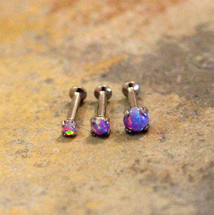 Purple Fire Opal Triple Helix Cartilage Flat Back Earrings, Internal Thread Prong Basket Setting, Surgical Steel Piercing Jewelry 16G,18G by Purityjewel on Etsy https://www.etsy.com/listing/222876420/purple-fire-opal-triple-helix-cartilage