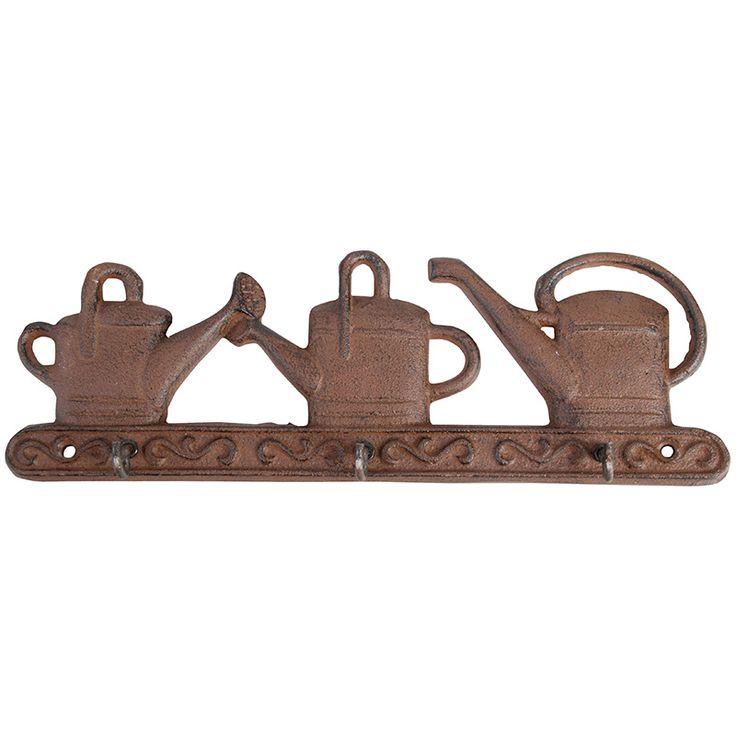 Háromrészes akasztó öntöttvasból, locsolókannás mintával. Kulcstartóként is használható, akár a kertben is.