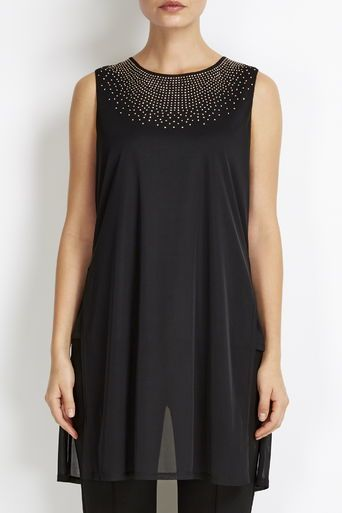 Black Mesh Embellished Split Back Top