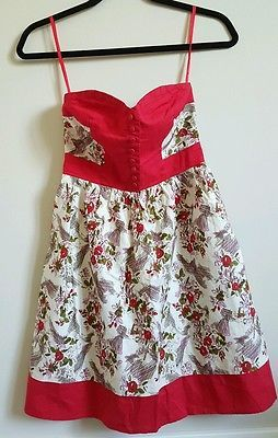 Anthropologie Kimchi Blue red dress floral print strapless sweetheart  XS