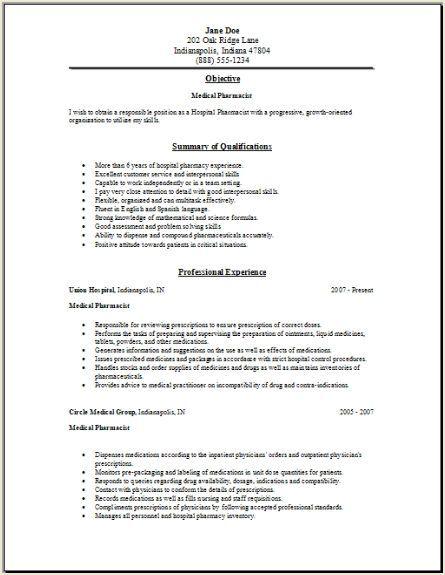 Pharmacist Resume Templates - http://www.resumecareer.info/pharmacist-resume-templates-6/