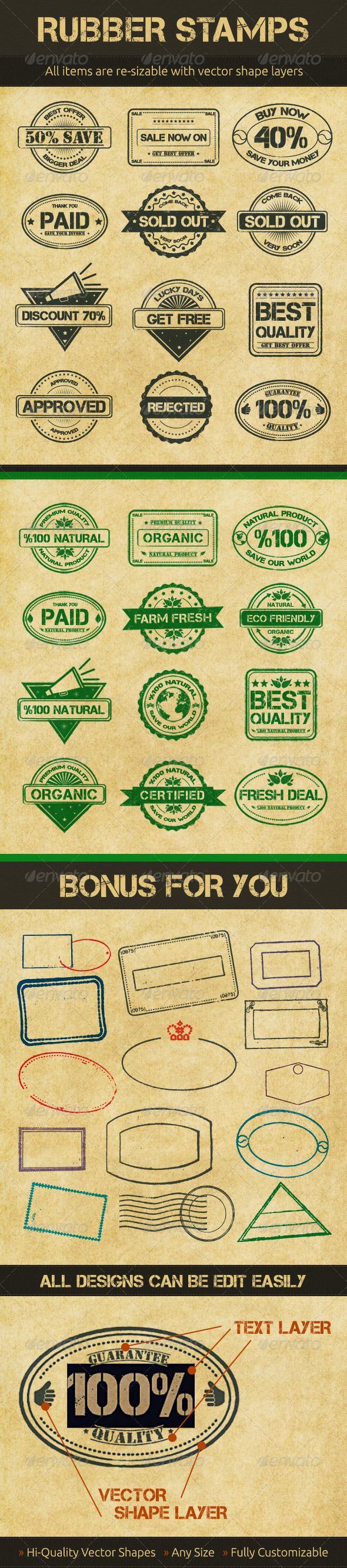 Selling Rubber Stamps  #GraphicRiver            	                	 High details vector rubber stamps. Like real stamps, rough and cracked.  	 Very organized name of layers, so you can easily change colors or go any size…  Included Files: 	 	 2 PSD (Bonus and Main Files with text layers) 		 2 AI CS (Bonus and Main Files with text layers) 	  	 If you like them, please rate it      Created: 5July12 GraphicsFilesIncluded: PhotoshopPSD #AIIllustrator HighResolution: No Layered: Yes…