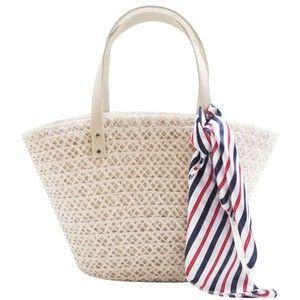 LUCLUC White Straw Zipper Tote Bag with Scraf