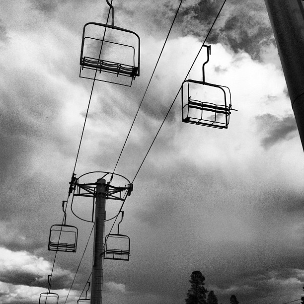 One of the older chairlifts on the hill.   #breckenridge #ski #chairlift #mountain #snow