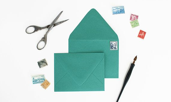 Gorgeous, high quality envelopes made from a thick paper. Great for card making, birthday/wedding invitations, or baby announcements. This listing is for 25 emerald colored envelopes that are A2 in size.   Envelope Specifications:  -Measures 4 3/8 x 5 3/4 -Fits a 4 1/4 x 5 1/2 card -Deep-V Euro flap -Made from 90 lb text weight paper -Matte Finish -Emerald Color -Set of 25 -Made in the USA   Please contact us for quantity discounts if you are looking to order more than 250 envelopes  Click…