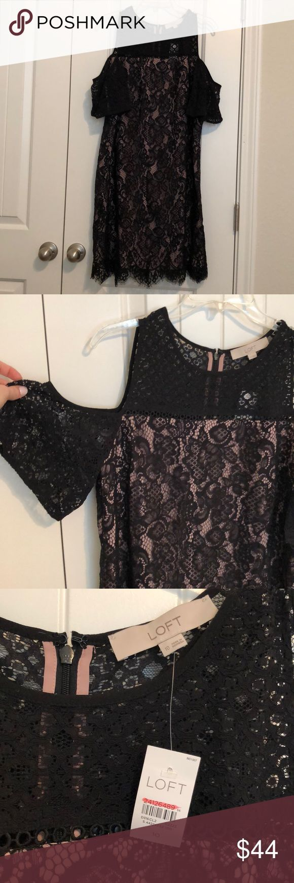 LOFT BLACK COLD SHOULDER DRESS NWT!! Perfect to wear to a wedding or work event …