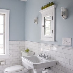 White subway tile with silver grout paint is benjamin for Duck egg blue bathroom ideas