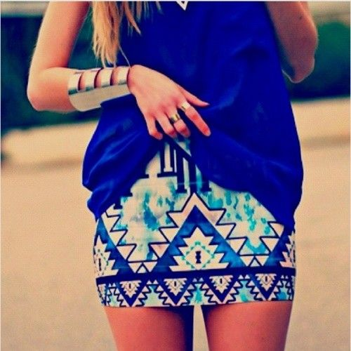 buyingggg..in love <3: Fashion, Blue, Outfit, Aztec Prints, Pencil Skirts, Aztec Skirts, Tribal Skirts, Tribal Prints, Tribal Pattern