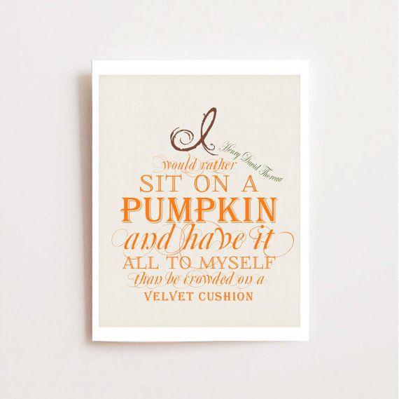 Instant Download Fall Decoration   Fall Printable Decor   Autumn Printable    Thoreau Quote   Pumpkin