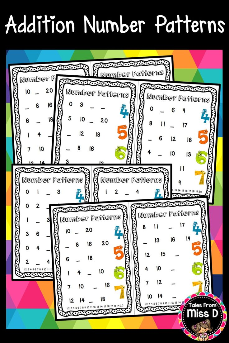 These 10 Addition Number Patterns Worksheets are great practice for learning about number patterns. Each page contains:  6 number patterns One or more missing numbers A number line for student reference Numbers range from 0 up to 20. © Tales From Miss D
