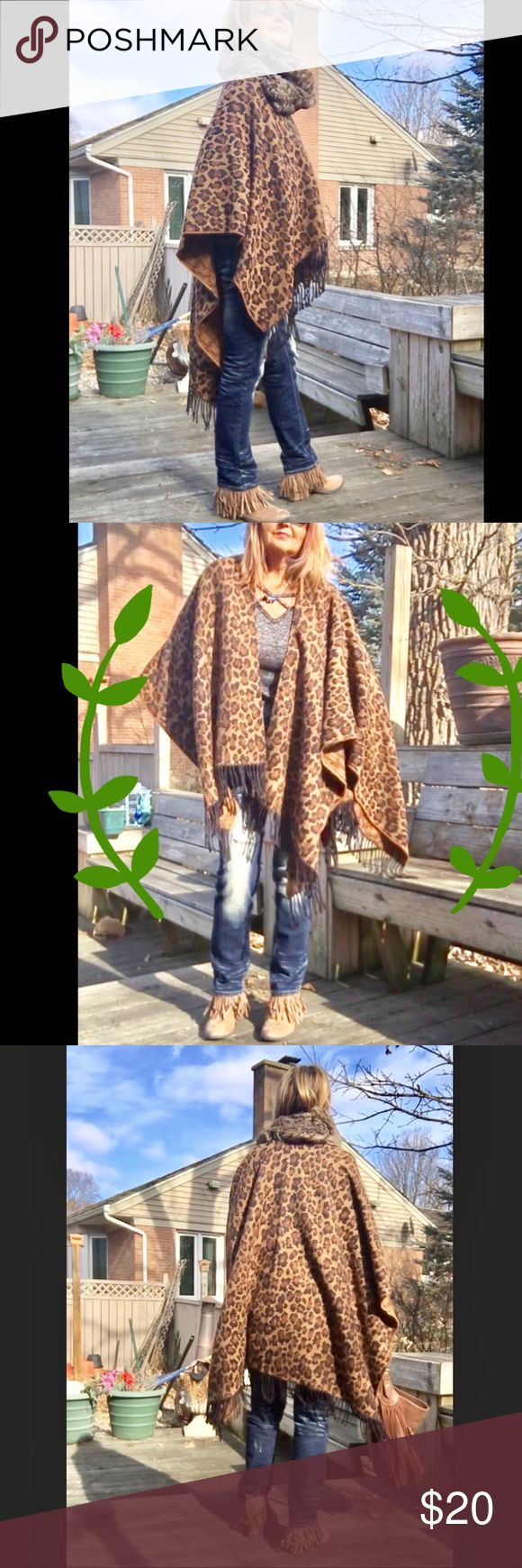 JAGUAR PRINT FRINGED SHAWL A warm, stylish, cover-up. Trendy jaguar print. Fur collar is listed separately for sale in my Closet. Croft & Barrow brand. Length is 64 inches long X 49 inches wide. Add 3 inches each side for length of fringe. Pre-worn about 3 times. Croft & Barrow Sweaters Shrugs & Ponchos