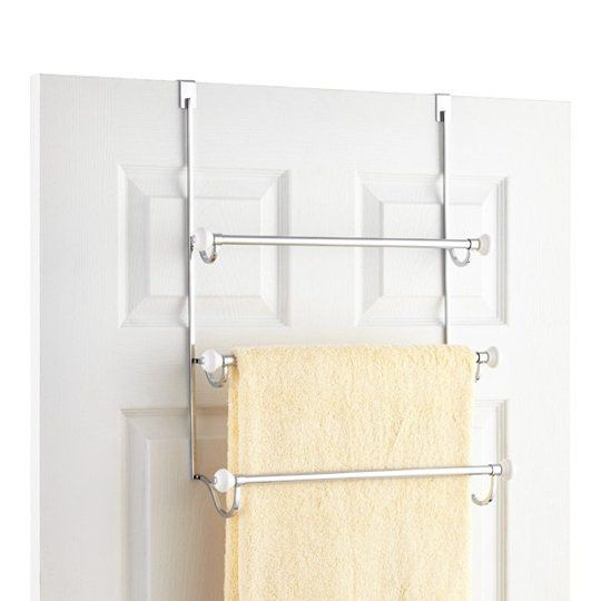 11 Essential Organizing Products for a Small Bathroom   Over door towel rack, $34.99 from The Container Store