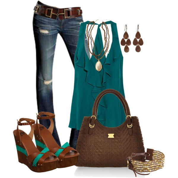 Aqua and Brown :) love the whole thing: Outfit Summer, Dates Night Outfit, Colors Combos, Dates Night Fashion, Woman Fashion, Summer Outfit, Style, Blue Green, Summer Night