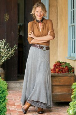 I like this look--not my style but needs to be--younger and more contemporary. I need to get out of my comfort zone. Touch Of Lace Skirt from Soft Surroundings