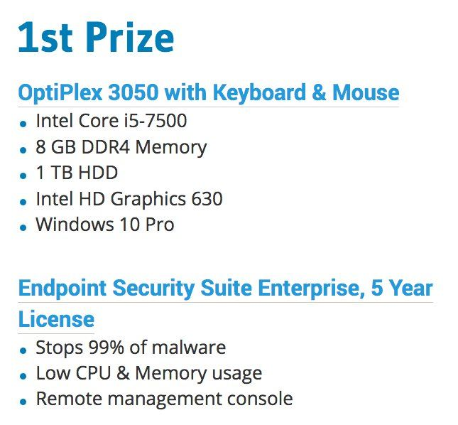 Win a Dell Desktop Computer, Dell Professional Series Monitor, and 5 year Data Protection Endpoint Security Suite Enterprise worth $1,054.18. Enter now.
