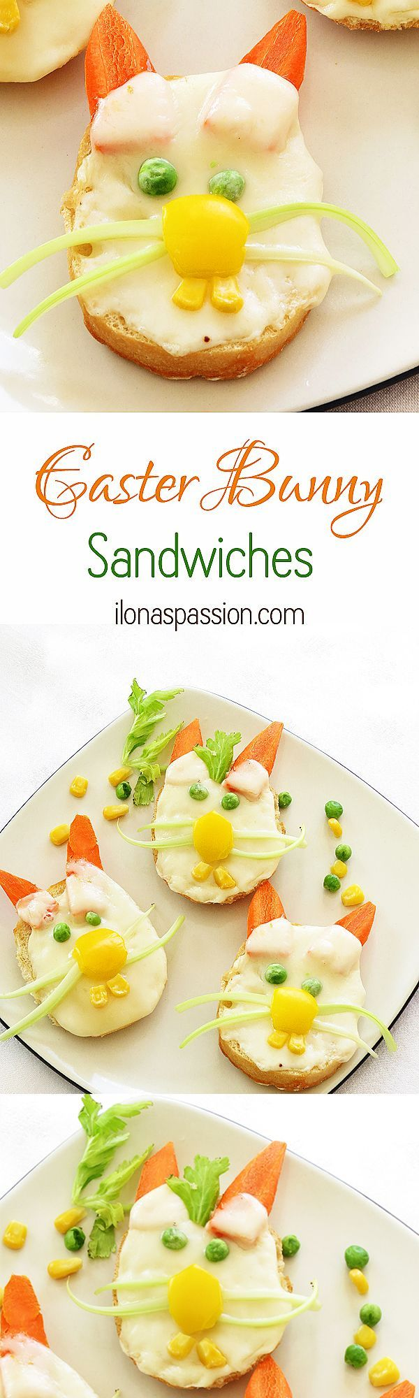 Easter Bunny Sandwiches - Simple, easy and very cute Easter Bunny Sandwiches made with small bagels or french baguette cheese and vegetables. Very adorable recipe and great for a Party! by http://ilonaspassion.com I /ilonaspassion/