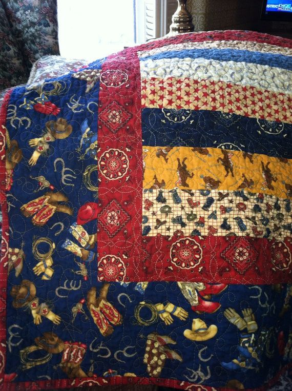 Cowboy Quilt for a baby boy by annmoody on Etsy, $95.00