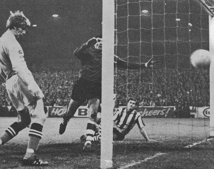 1st October 1969. Colin Bell makes scoring look easy has he puts Manchester City two up against Atletico Bilbao, in the European Cup Winners Cup.