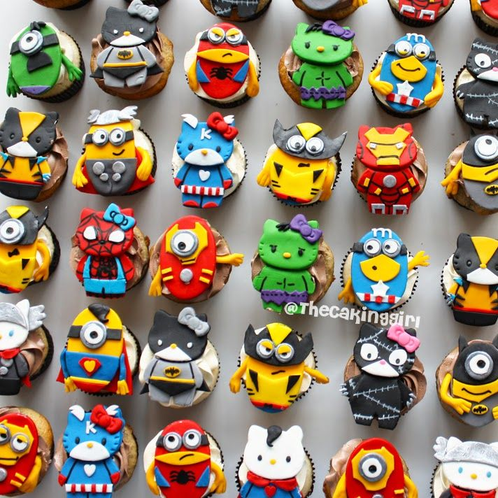 Superhero themed Minions and Hello Kitty Cupcakes!!  Fondant/Gumpaste cupcake toppers www.thecakinggirl.ca