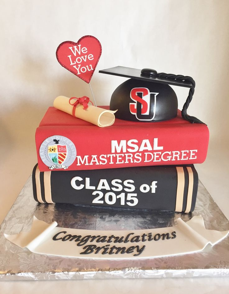 Graduation Cake | Custom Cake | Seattle University | Graduation | Cap | Diploma | Books | MSAL Masters Degree | Class of 2015 | Fondant | College Graduation | Baked Custom Cakes