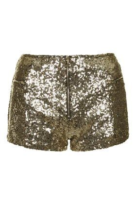 **Infinity Gold Sequin Mini Shorts by WYLDR £29