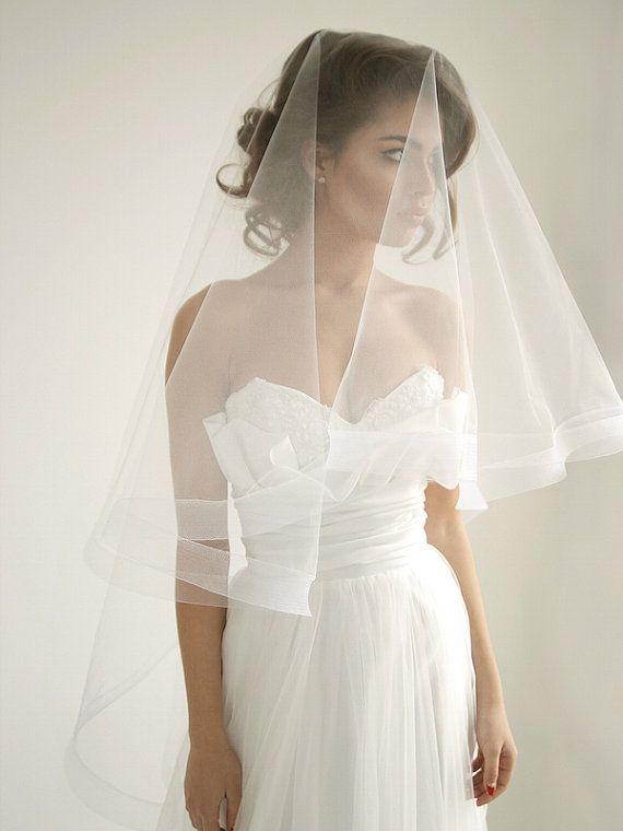 2 '' Horsehair ribbon wedding veil with blusher by HoneyPieBridal                                                                                                                                                     More