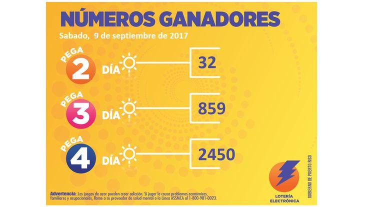 #LoteríaElectrónica sorteo Pega Día del Sabado 9-09-2017