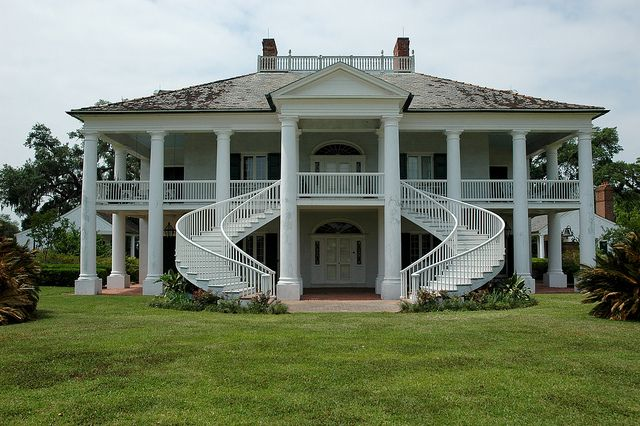 The Evergreen Plantation House was built circa 1790 and remodeled to the current Classical Revival style in 1830. South Louisiana.