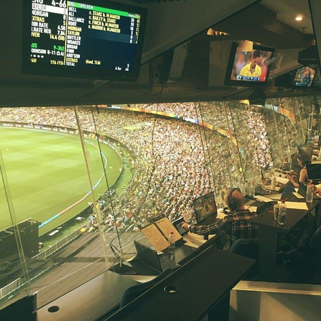 ACMA are behind the scenes at the @cricketworldcup making sure the game is interference free for broadcasters. Not a bad view from the media room! #cwc2015 #cricket #worldcup @wwos9 @cricketcomau #Australia
