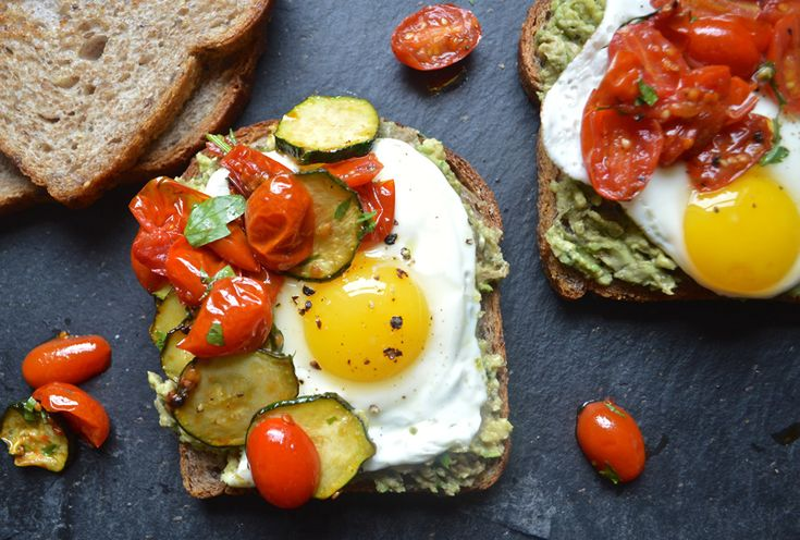 Sandwich #8—Open-Faced Egg Sandwich with Zucchini, Tomatoes ...