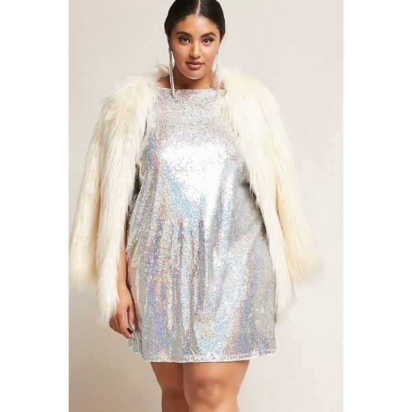 Forever21 Plus Size 12x12 Sequin Dress ($48) ❤ liked on Polyvore featuring plus size women's fashion, plus size clothing, plus size dresses, silver, forever 21 dresses, off the shoulder cocktail dress, sparkly dresses, white off-shoulder dresses and sequin dress
