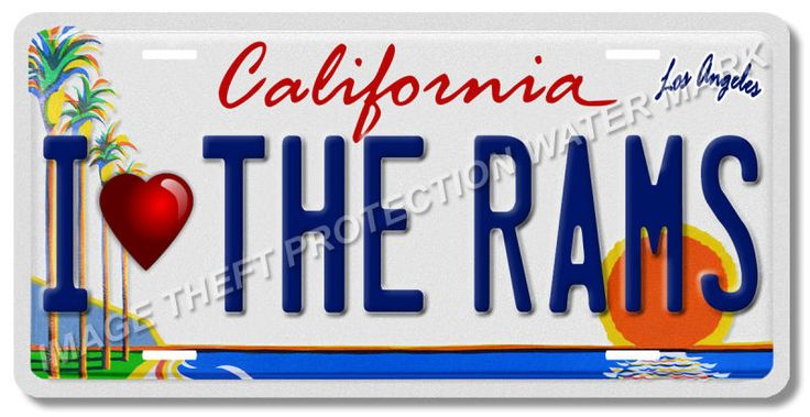 I Love The Rams LA Los Angeles California NFL Football Team License Plate Tag 8
