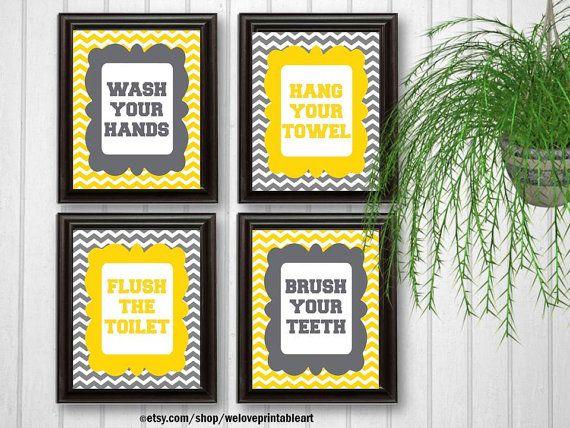 Yellow and Gray Chevron Bathroom Decor Kids by WeLovePrintableArt