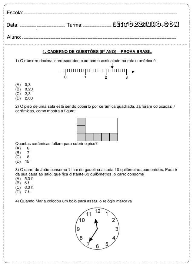 Caderno de questões (5° ano) Prova Brasil