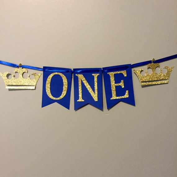 How cute is this for smash cake pictures?!? Royal Prince themed first birthday high chair banner.  Having a different color scheme? No