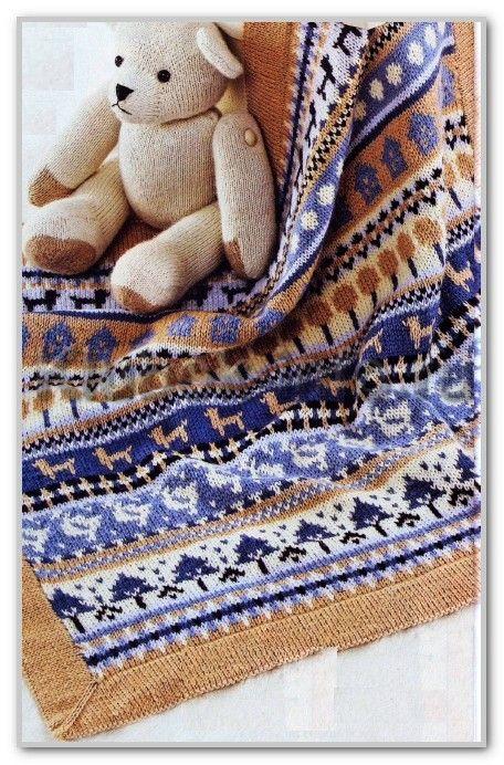 Вязание спицами. Детское покрывало с многоцветным жаккардовым узором. Размер 70 х 70 см