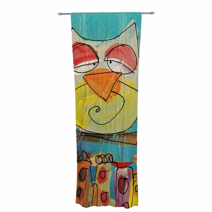 "Carina Povarchik ""Urban Owl Teal "" Teal Kids Decorative Sheer Curtain"