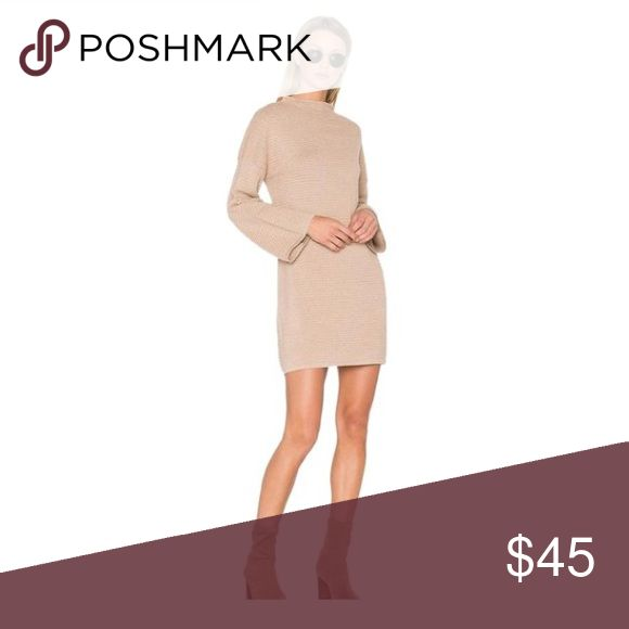 MINKPINK BEIGE DRESS Beige long sleeve dress ripple stitch MINKPINK Dresses Long Sleeve