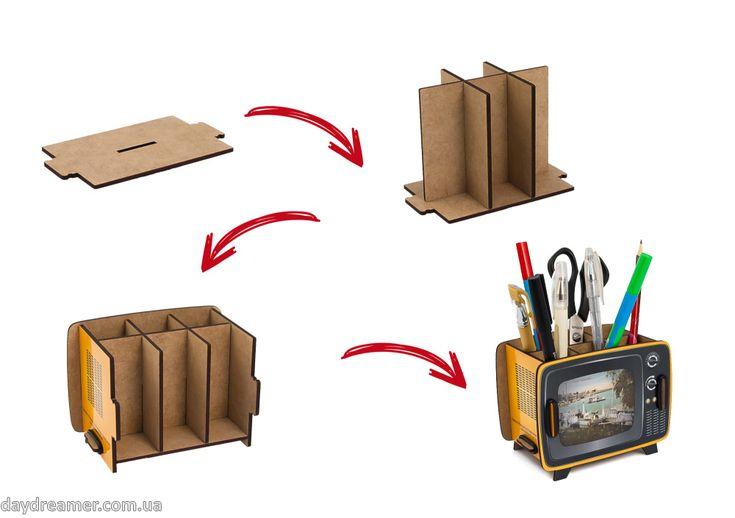 Органайзер для ручек Ретро Телевизор – Retro TV Box , фирменная упаковка, ретро тв бокс, креативный настольный органайзер, уникальный подарок, подставка для ручек, магазин дейдример, daydreamer