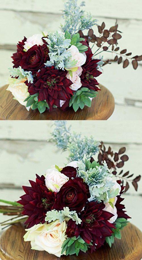 Silk Succulent Plum Burgundy Wedding Bouquet with Dahlias Ranunculus and Peony - Silk Bouquet
