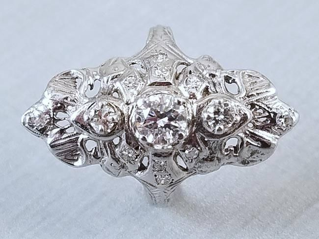 Vintage early Art Deco 14k white gold filigree 1 carat diamond navette  ring 18fa0883d996