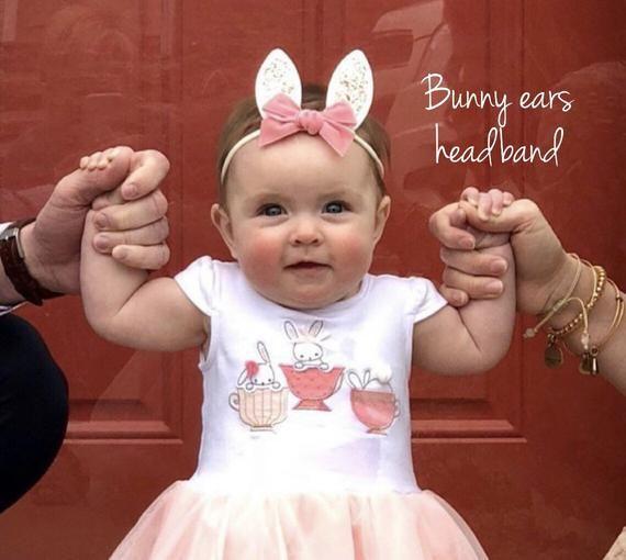 Pink velvet bunny bow headband easter bunny