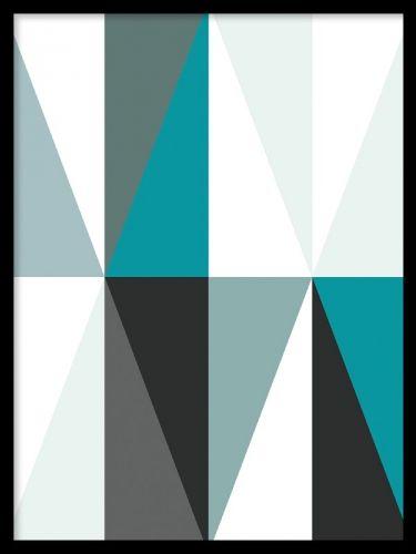 prints och posters med grafiskt mönster. Tavla i turkost