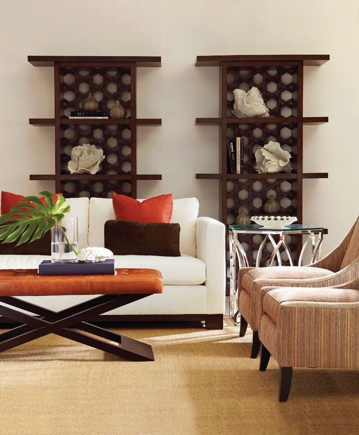Lanai Sofa | Argent Side Table | Zowie Chair | Harlow Bench | Bali Etagere #design #GlenandJamie #furniture