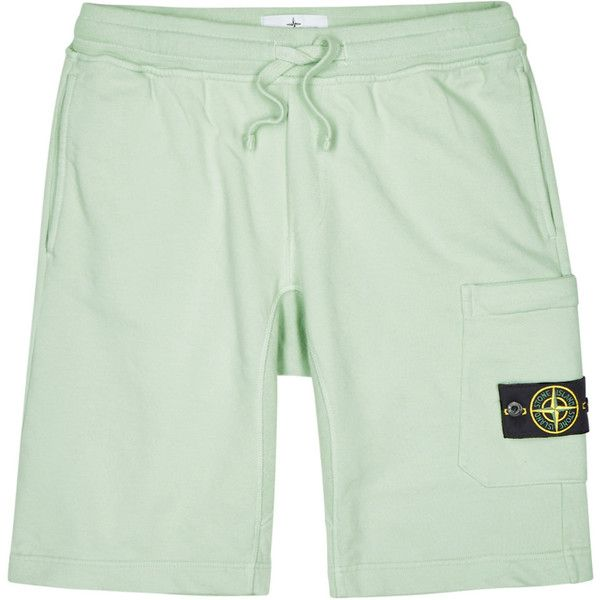 Stone Island Mint Cotton Shorts - Size L (200 CHF) ❤ liked on Polyvore featuring men's fashion, men's clothing, men's shorts, mens tie dye shorts, mens elastic waist shorts, organic cotton men's clothing, mens mint green shorts and mens stretch waist shorts
