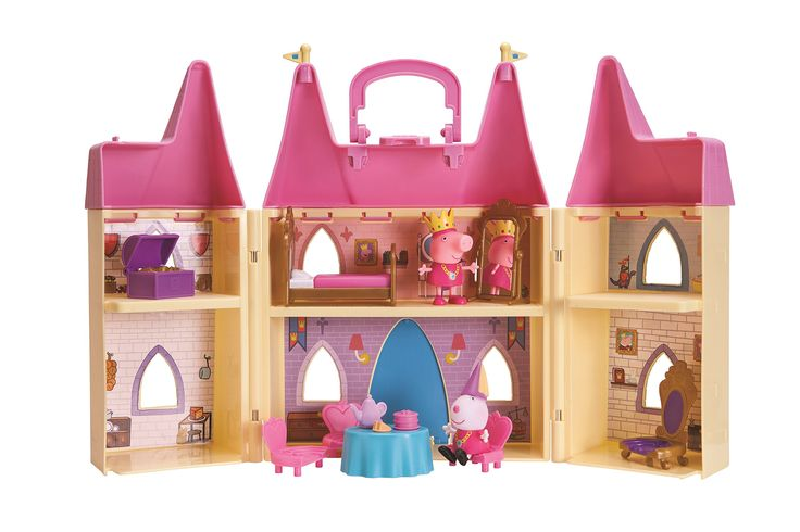 Peppa Pig Princess Castle Playset. The Princess Peppa's Castle Playset includes: princess peppa and princess suzy figures, treasure chest, princess bed, full-size mirror, throne, 3 dining chairs, dining table with tea set. Compatible with all peppa pig figures. Peppa's castle folds away to store all accessories and includes a handle. Built in scale with your favorite Peppa Pig playsets. Princess Peppa's Castle Playset will help make your collection complete!.